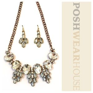 Jewelry - Brass Tone & Crystal Statement Necklace & Earrings